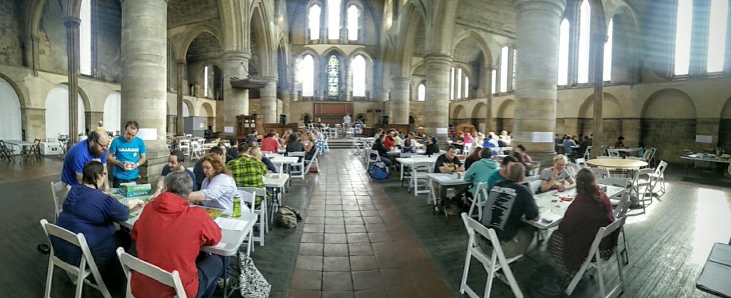 150 people all playing games in this beautiful space!